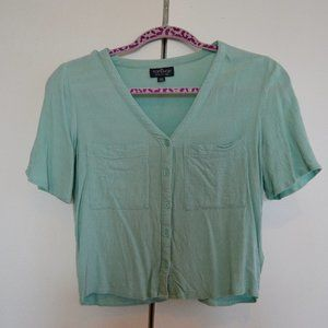 Topshop Short Sleeved Button Up Blouse US4 UK8